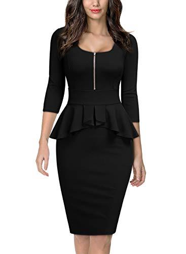 MIUSOL Formale Business Peplum Matita Festa Vestito da Donna Nero Large