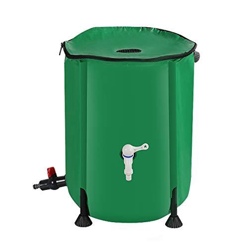 JFF Barril De Lluvia Plegable, Recipiente De Almacenamiento De Agua De Tanque Plegable Colector De Agua con Filtro De Espita,100L