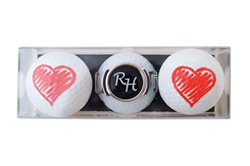 RoLoGOLF Golf-Geschenk-Set: 2 Golfbälle Herz und Schuh-Clip + Marker mit INITIALEN! NEU!!! Eine Liebeserklärung!