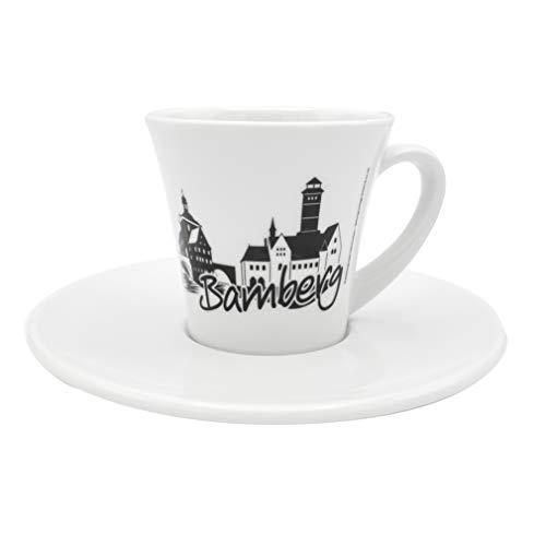 Heimatshop Franken Skyline Bamberg Espressotasse | 13 cm, x 6,5 cm | Porzellan | weiß-schwarz