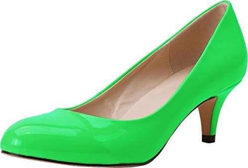 Find Nice Damen Pumps mit spitzem Zehenbereich, bequem, Kätzchenabsatz, Hochzeitskleid, Brautkleid, Grün - grün - Größe: 39.5 EU
