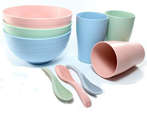 Vajilla para Desayunos y Comidas Saludables Fabricados con Paja de Trigo Compuesto por 9 Piezas Irrompibles, Ecológicos y Biodegradables