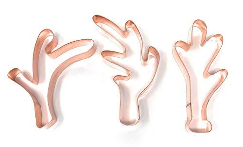 Set of 3 Deer/Reindeer Antlers Copper Cookie Cutters