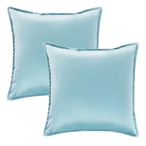 Bedsure Funda Cojin 45 x 45 Azul - Juego de 2 Fundas Cojines Decorativas de Terciopelo, Muy Suave, Funda de Almohada Cuadrada para Sofá, Dormitorio y Sala de Estar, con Cremallera