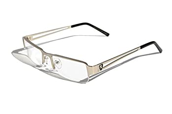 Premium Khan Metal Rectangular Reading Glasses  Silver 1.5 x