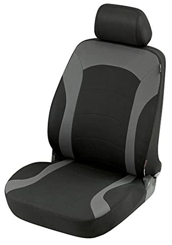 Walser Auto Sitzbezug Inde mit Reißverschluss, Zipp-IT Premium Schonbezug Auto, Vordersitzbezug schwarz/grau 11784