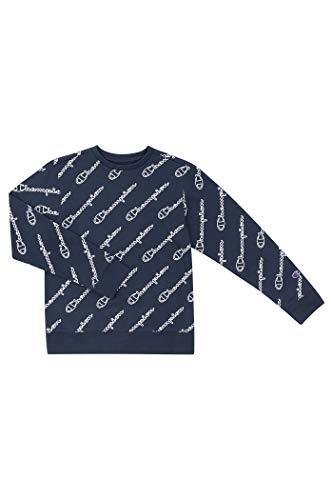 Champion Unisex Heritage Boy and Girls Fleece Pullover Champion Scipt Sweatshirt (Medium, Heritage Navy/White Script)