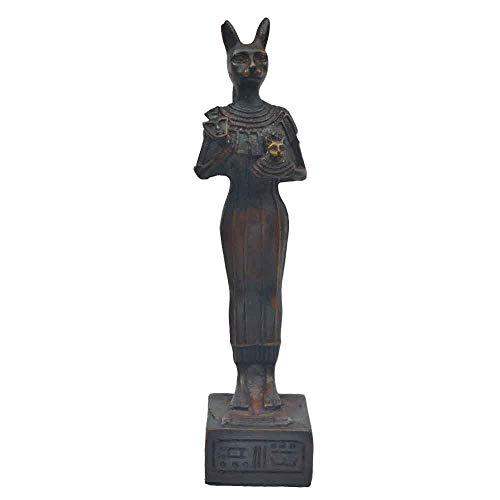 Horus Artesanía de Egipto Bastet Diosa Gata Diosa del Placer, hogar y Maternidad. Cabeza Gata y Cuerpo Humano Color marrón