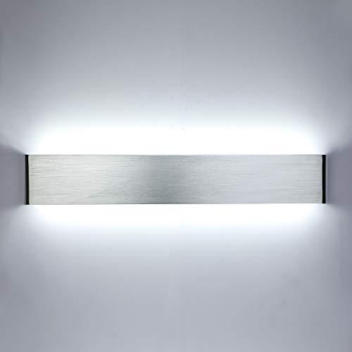 Lightess 20W 50CM Apliques de Pared LED Lámpara de Pared Interior Luz Moderna Agradable Luz de Aluminio Iluminación para Salón, Dormitorio, Sala, Pasillo, Escalera, Cuerpo Plata, 6000K Blanco Frío