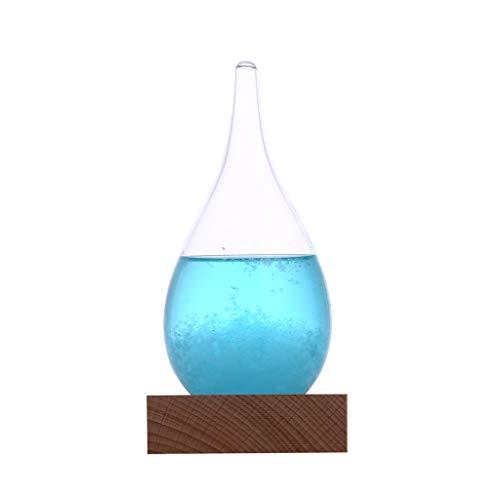 FBGood Sturmflasche, Wetterstation – Sturmglas, Wetterstation, Cloud Storm, Kristall, Flasche mit Holzfuß, kreativ, elegant, dekorativ, Wetterschutz, Wassertropfen, zur Dekoration