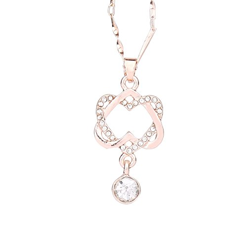Lutos Double Heart Iced Out Pendant Necklace Charm Pendant Necklace Gift Jewelry,Unique Fashion Clothing Accessory Gifts Rose Gold