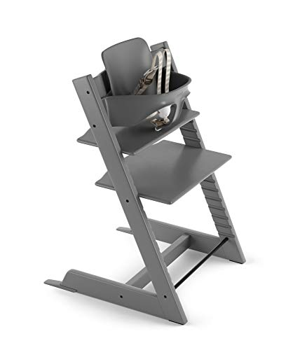 Tripp Trapp by Stokke Adjustable Wooden Storm Grey Baby High Chair (Includes Baby Seat with Harness)
