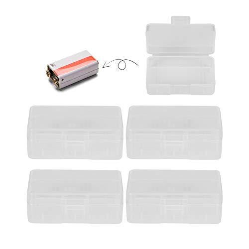 5Pcs Caja de almacenamiento de batería portátil para almacenar una batería de 9V, Caja para proteger y Transporte pilas, Contenedor de caja de batería transparente de PP