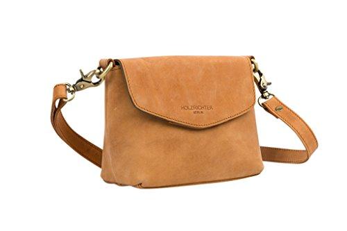 HOLZRICHTER Berlin Umhängetasche (S) - Elegante Vintage Handtasche & Schultertasche Aus Leder, Damen & Herren - Camel-Braun