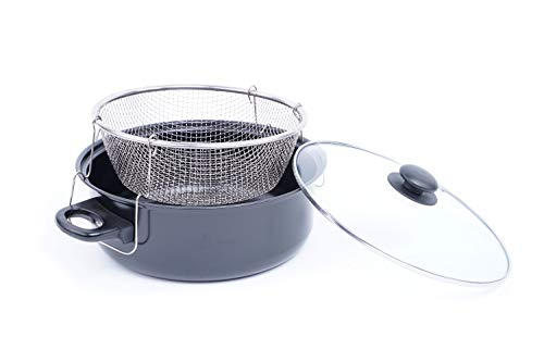 EMAKO Frittiertopf mit Korb und Glasdeckel Frittierpfanne Topf zum Frittieren Metall Ø 26 cm