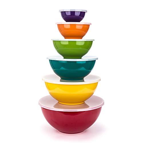 Melamine Mixing Bowls with Lids - 6 Piece Melamine Bowls and 6 Piece Plastic Lids, Multicolor