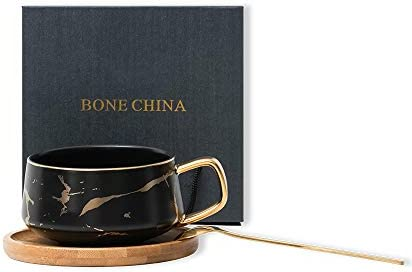 CLAPOYIS Ceramic Coffee Cup and wooden Saucer Gold Spoon with gift box Porcelain Mug Tea Gift product image