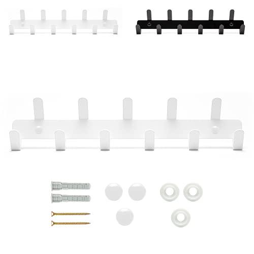DEKOKRAFT - Garderobenhaken, Garderobenleiste (weiß, schwarz) mit 11 Kleiderhaken – Rostfrei - Wandgarderobe, Hakenleiste und Jackenhalter - Gaderobenhakenleiste mit Wandhaken, Wand Garderobe