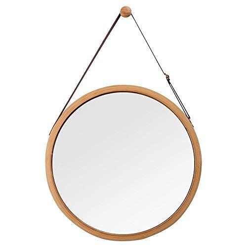 Espejo de pared redondo para colgar en el cuarto de baño y dormitorio, marco de bambú sólido correa de cuero ajustable (color: madera de bambú)