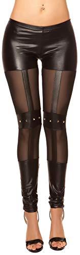 Firstclass Trendstore Wetlook-Leggings mit Nieten Gr. S-L, Damen Gogo Clubwear Party mesh (900194 schwarz M/L IN50421)