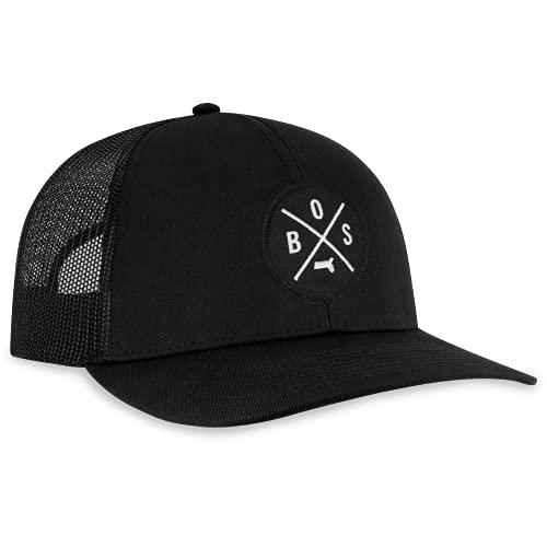 BOS Hat - Boston Trucker Hat Baseball Cap Snapback Golf Hat (Black)