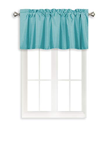 Home Queen Rod Pocket Room Darkening Curtain Valance Window Treatment for Kitchen Room, Short Straight Drape Valance, Set of 1, 94 cm x 46 cm (37 X 18 Inch), Aqua