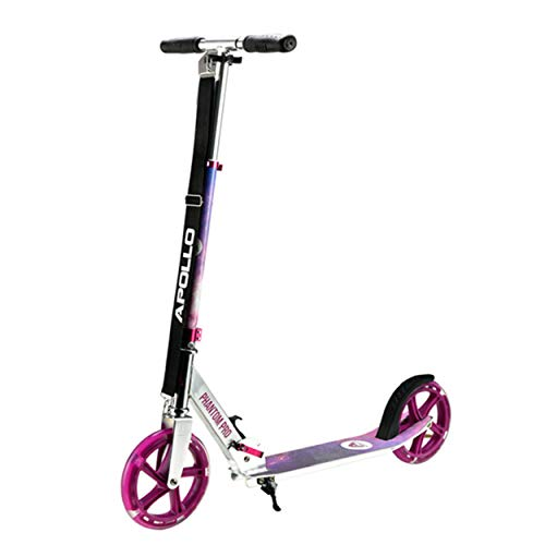 Apollo XXL Wheel Scooter - Phantom Pro City Scooter, Foldable Street Scooter, Height Adjustable Handle, 2 Big Wheels LED, Kick Scooter for Adults and Children, 220lbs Capacity - Starlight / Pink