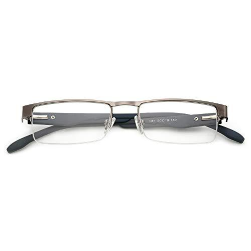 KOOSUFA Metall Lesebrillen Herren Damen Klassische Halbrandbrille Stärken Breit Lesebrille Qualität Schwarz Braun Grau (1 Stück Grau, 3.0)