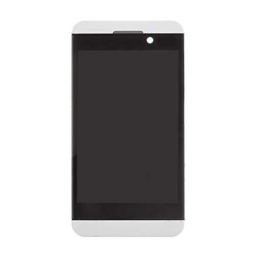 NANSHAN LCD Kit de reemplazo de Pantalla de visualización, Pantalla LCD y Montaje Completo digitalizador con Marco for Blackberry Z10 4G - con Herramientas de reparación. (Color : Blanco)
