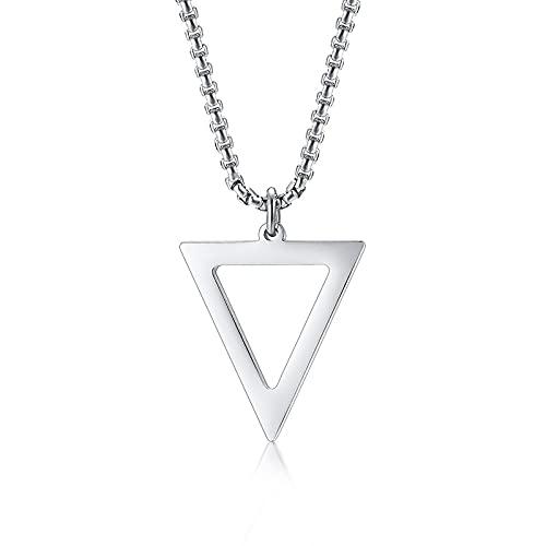 Collares para Hombre Colgantes Joyería Collar Triángulo Negro para Hombre Cadena De Acero Inoxidable Hombre Colgante Geométrico Colgante Joyería Plata