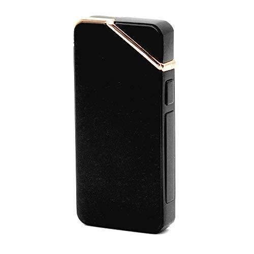 JX-SHOPPU プラズマライター 電子ライター USB 充電 ヘアライン デュアル アーク 着火 タバコ 煙草 ガス オイル 不要 Plasma Lighter Rechargeable Windproof Flameless (ブラック)