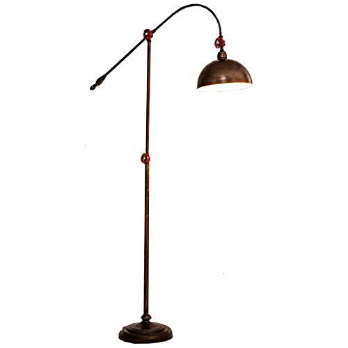 WPLDD vloerlamp retro vloerlamp LED verticale vloerlamp goudkleurig metalen kap E27-bus met voetschakelaar geschikt voor woonkamer werkkamer