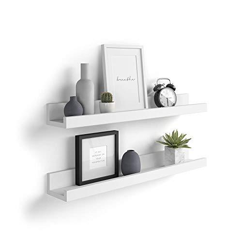 Mobili Fiver, Par de estantes para Cuadros, Modelo First, 80 cm, Color Blanco Mate, Aglomerado y Melamina, Made in Italy