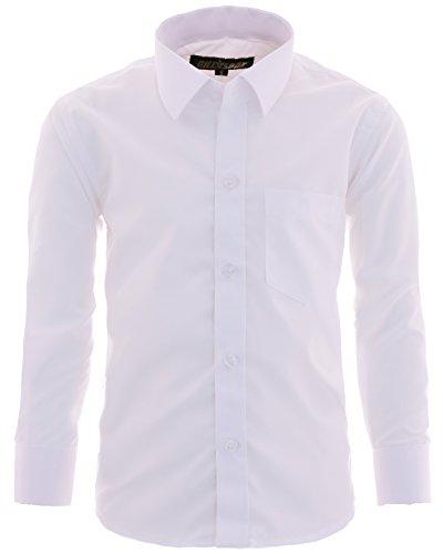 Gillsonz A1vDa - Camisa de manga larga para niño, fácil de planchar, 9 colores, talla 86-170 Blanco 11/12 años