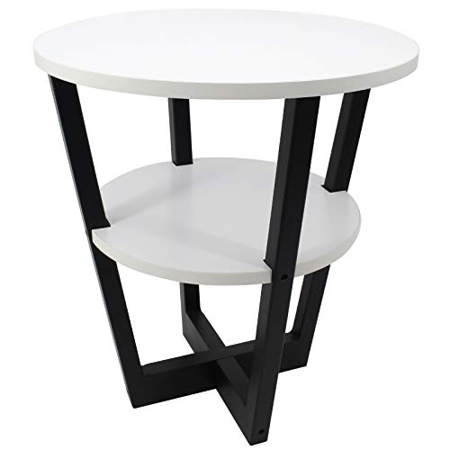 White Round Industrial End Table, 2-Tier Round Coffee Table with Storage Shelf, Easy Assembly and Sturdy Solid Wood Legs Industrial Side Sofa Table for for Living Room, Bedroom