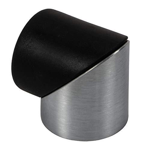 Gedotec Tope de puerta de acero inoxidable redondo – CLASSY | Tope de goma para montaje en suelo | Tope de metal para colocar o pegar | 1 pieza – Tope de diseño plateado con material de fijación