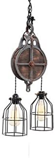 West Ninth Vintage Wood and Iron Barn Pulley Light with Grey Pulley