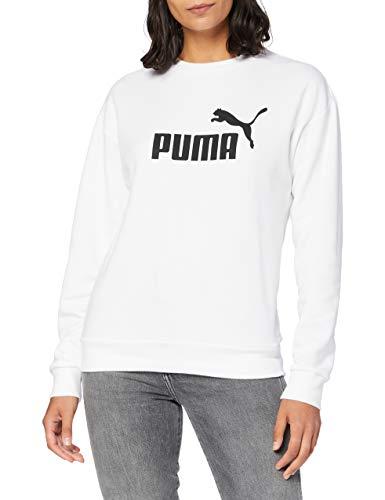 PUMA Ess Logo Crew Sweat TR, Felpa Donna, Bianco (White), M
