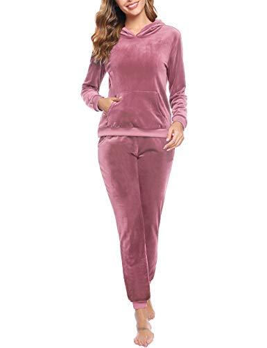 Akalnny Tuta Sportive da Donna in Velluto Felpa con Cappuccio a Maniche Lunghe Pantaloni a Elastico per la Vita Set (Rosa,M)