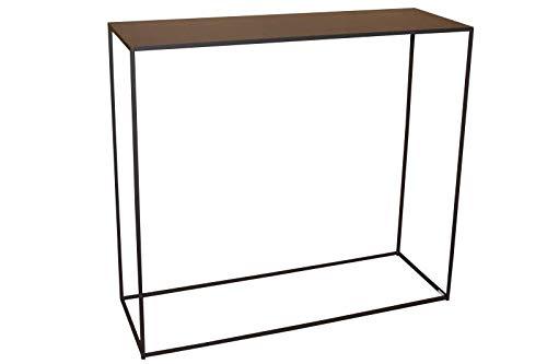 Caleido Mali - Aparador, mesa auxiliar, consola de pasillo, metal marrón oscuro, 90 x 30 x 80 cm