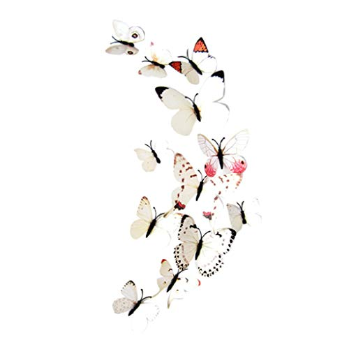 Fine 24 PCS 3D Butterfly Wall Stickers, Crafts Butterflies DIY Art Decor Home Room Decorations, Removable DIY Home Decorations (White)