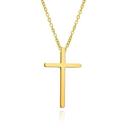 Damen Gold Kreuzkette Halskette Unisex Minimalistische Cross Pendant Schmuck 14K vergoldete Geschenke für Frauen