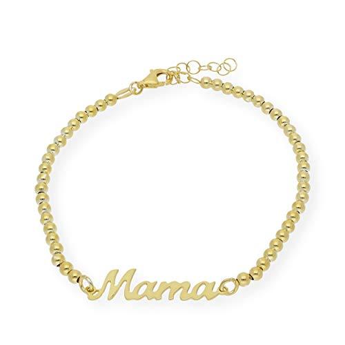 Pulsera de plata Mama con cadena de bolas | Materiales Hipoalergénicos | Pulseras Mujer Plata de Ley | Pulseras Plata Mujer | S&S (Plata Dorada)