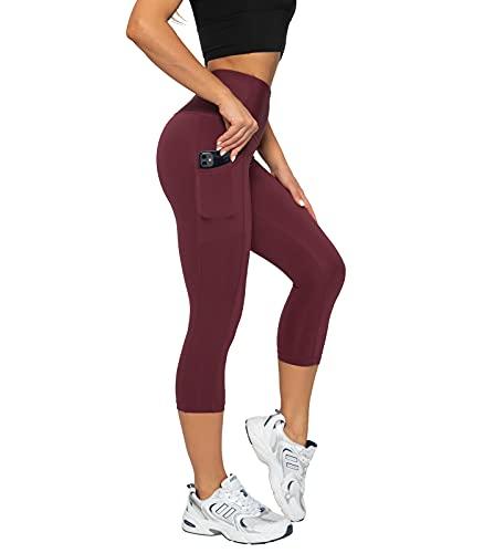 LAPASA Pantalones Piratas 3/4 Capris Mujer, Mallas Deportivas con Bolsillos Laterales para Yoga Cintura Alta Versión 2021 L02B1