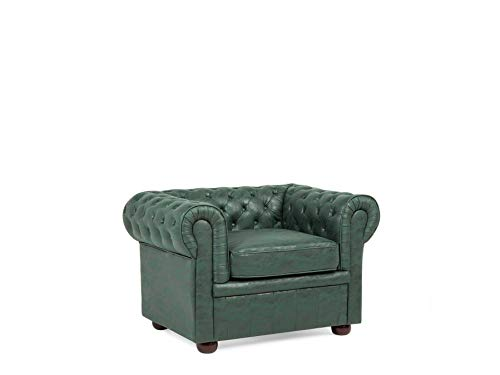 Beliani Poltrona Design Vintage in Pelle Verde Moderna da Salotto Chesterfield Chesterfield