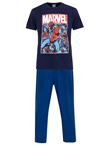 Marvel Herren Spiderman Schlafanzug Blau Medium