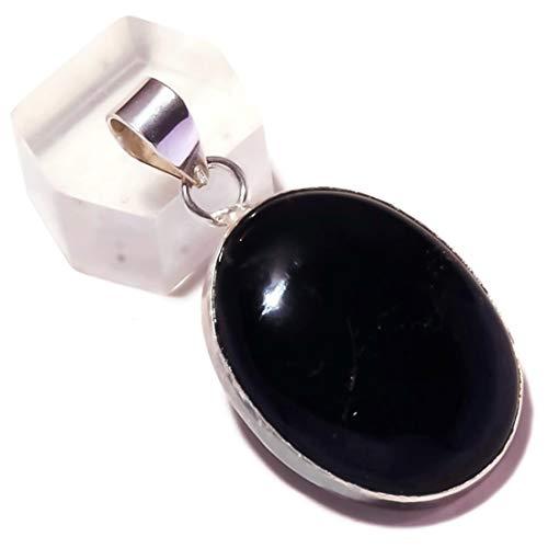 Jewels House Colgante de piedra ovalada de ónix negro chapado en plata hecho a mano con cabujón de media noche