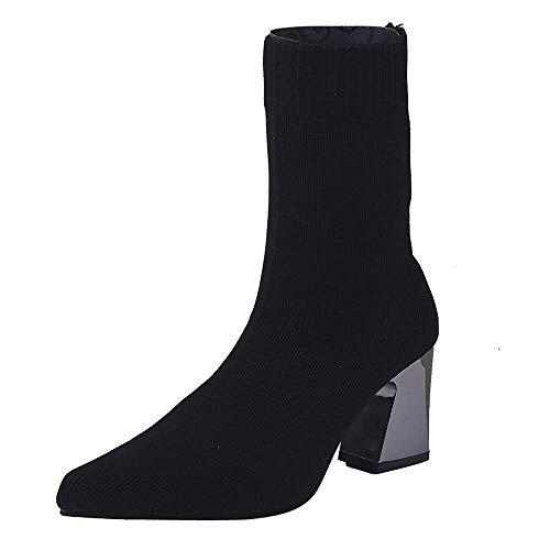 MEHOUSE Bottes Femme Chaussettes en Maille Femme Bottes Neuves en Tissu Stretch Rétro Les Femmes Ont des Talons Hauts dans Le Tube de Bottes en Tissu Extensible Chaussures Large Chic Boots