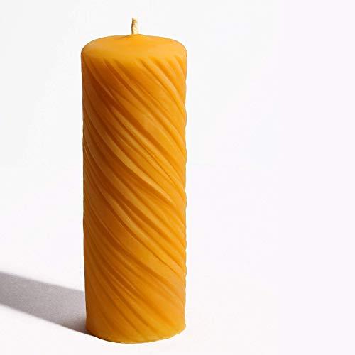 2 Stück Kerzen aus 100% Bienenwachs handgemacht gegossen mit langer Brenndauer Spiralendesign 12 x 4,5 cm Bienenwachskerze Bienenkerze, direkt vom Imker aus Deutschland, Bayern, von der Bienenbude