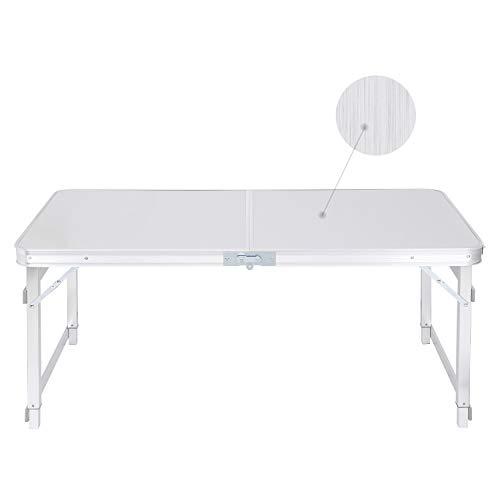Mesa plegable para camping, mesa de jardín, mesa plegable de aluminio, altura regulable 120 x (55-70), mesa de balcón, con asa, mesa de viaje, plegable, mesa de trabajo para jardín, terraza, balcón